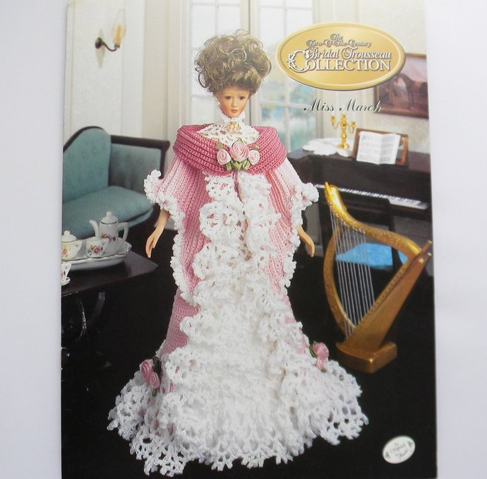 Fashion Doll Tea Gown Crochet Pattern Miss March Bridal Trousseau Collection