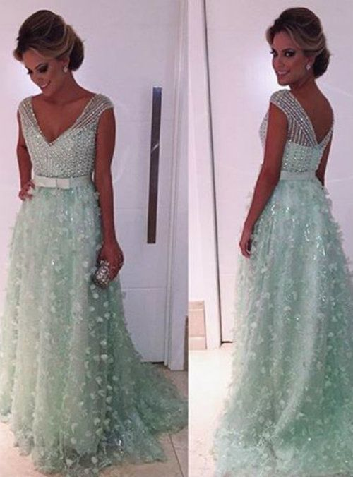 Mint Green Prom Dress Ball Gown Prom Dress Princess Prom Gown Beaded Prom