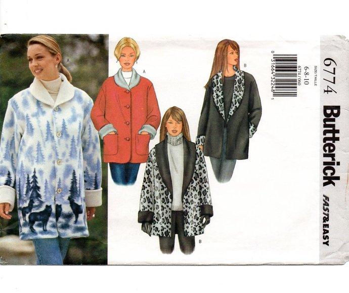 Butterick 6774 Misses Jacket Sewing Pattern Size 6, 8, 10 Fleece Jacket,