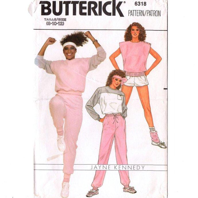 Butterick 6318 Misses Exercise Top, Vest, Pants, Shorts 80s Vintage Sewing