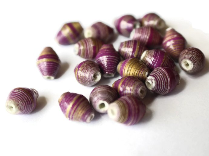 sold out 10mm Purple and Silver Striped Beads Ugandan Paper Beads Fair Trade