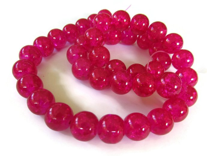 10mm Full Strand Bright Pink Crackle Glass Beads Round Beads Smooth Round Beads