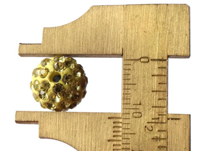 12mm Light Yellow Rhinestone Beads Round Polymer Clay Sparkle Beads Shamballa