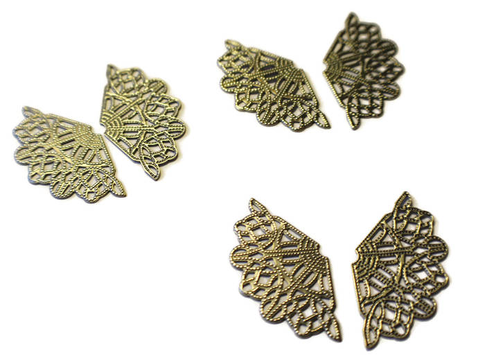 3 Pair (6) Filigree Drop Wing Charm Antique Silver Wings Filigree Finding Silver