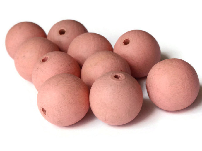 12 18mm Beads Pink Beads Round Wood Beads Vintage Beads Wooden Beads Loose Beads