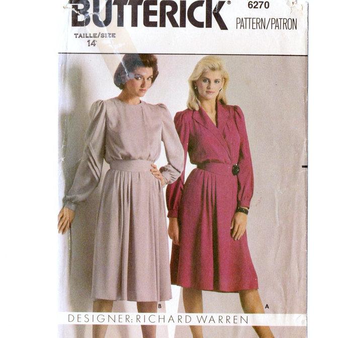 Butterick 6270 Misses Dress 80s Vintage Sewing Pattern Uncut Size 14 Bust 36