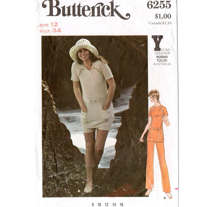 Butterick 6255 Misses Top, Pants, Shorts 70s Vintage Sewing Pattern Size 12 Bust