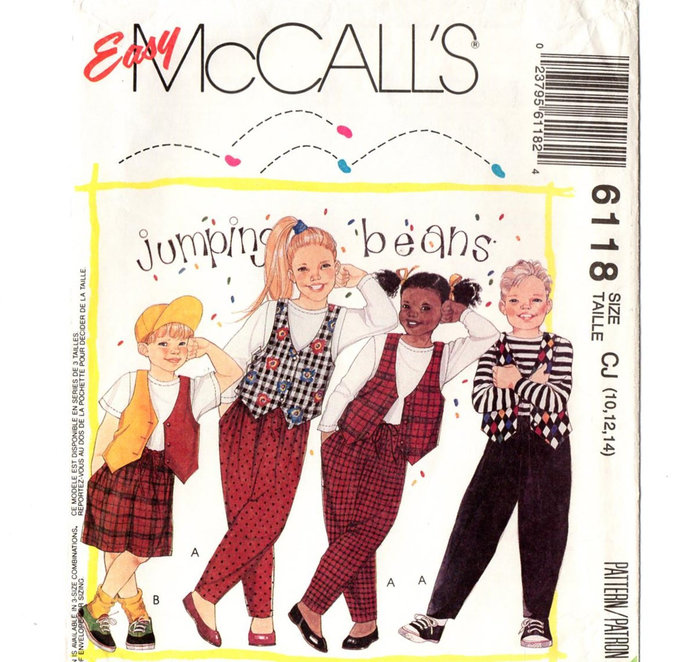McCall's 6118 Boy/Girl Baggy Pants, Shorts, Top, Vest 90s Vintage Sewing Pattern