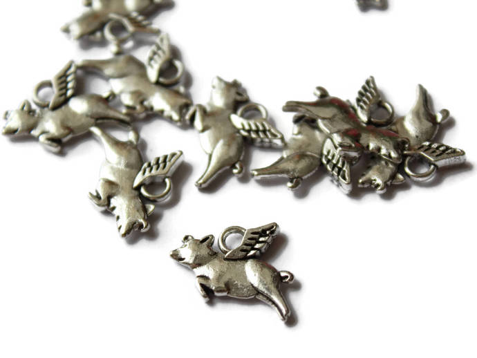 12 17mm Flying Pigs Silver Flying Pig Charms Zinc Alloy Flying Pigs When Pigs
