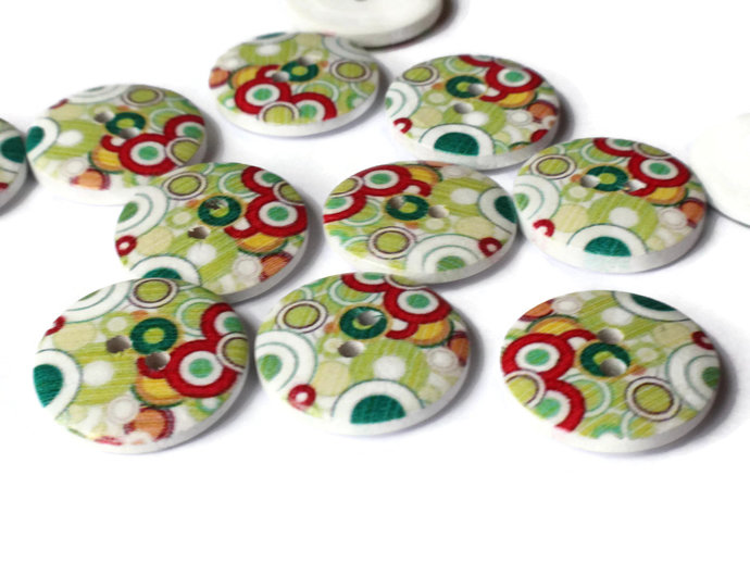 12 23mm Buttons Dot Buttons Colorful Buttons Multicolor Buttons 2 Hole Buttons
