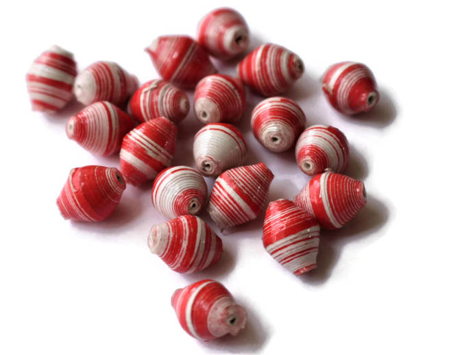 10mm Red and White Striped Beads Ugandan Paper Beads Fair Trade Beads African
