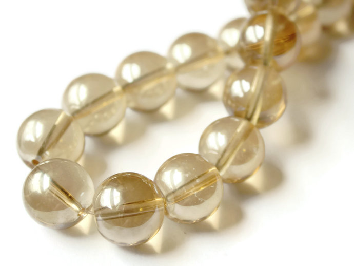 12mm and 14mm Clear Amber Crystal Glass Smooth Round Beads Full Strand Jewelry