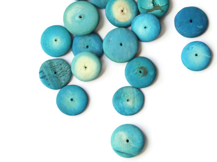 49 15mm Turquoise Blue Beads Coconut Wood Beads Vintage Flat Disc Beads Wooden