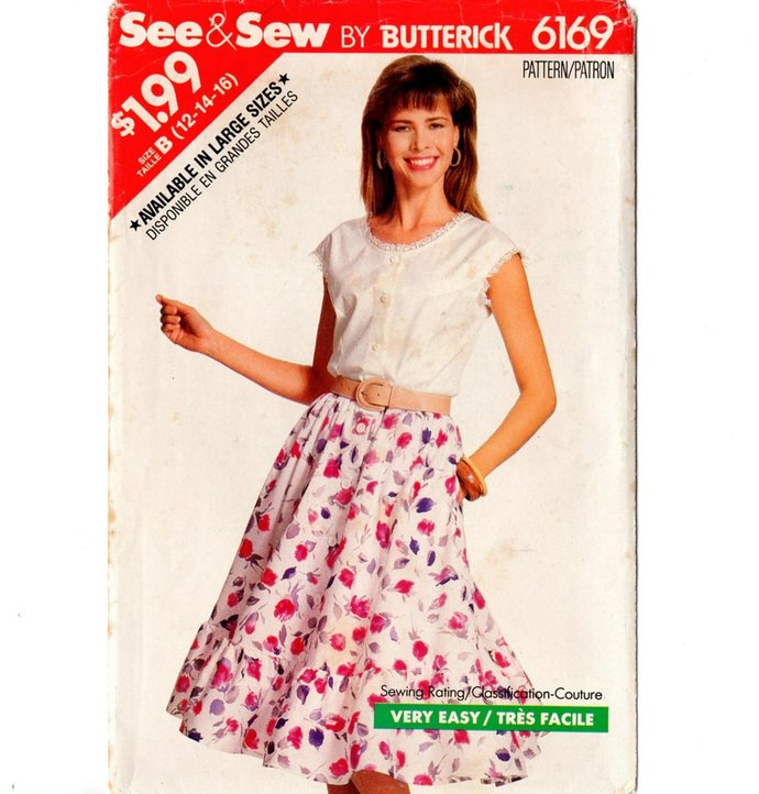 Butterick 6169 Misses Flared Ruffled Skirt, Top 80s Vintage Sewing Pattern Uncut