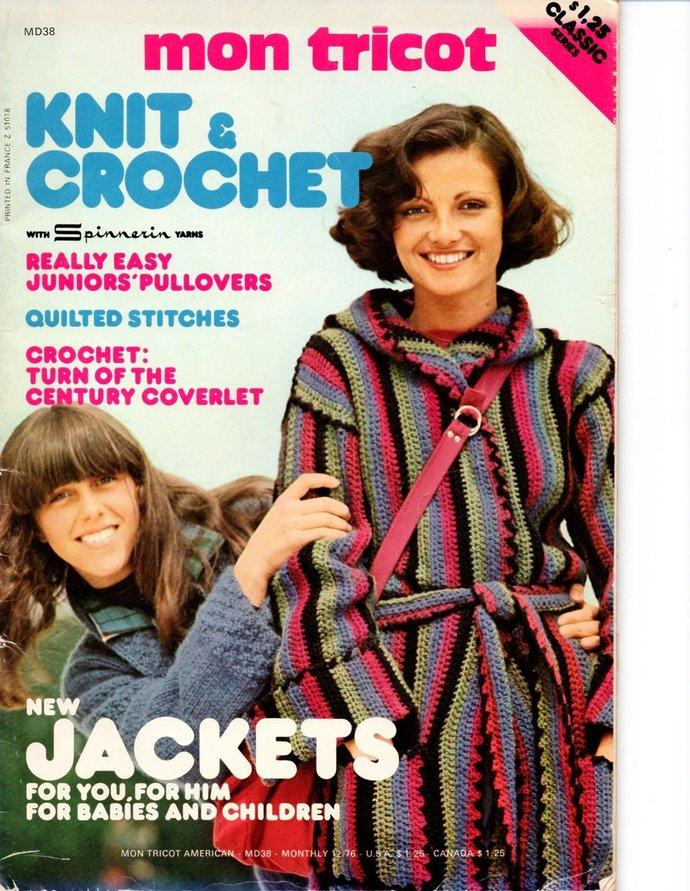 Mon Tricot Knit & Crochet Pattern Magazine 12/76 Jacket, Sweaters, Men, Women,