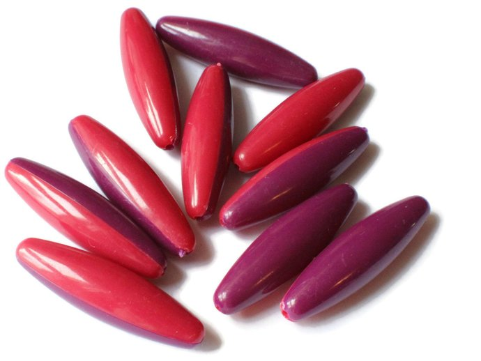 10 40mm Red and Purple Two Tone Beads Vintage Plastic Tube Beads Jewelry Making