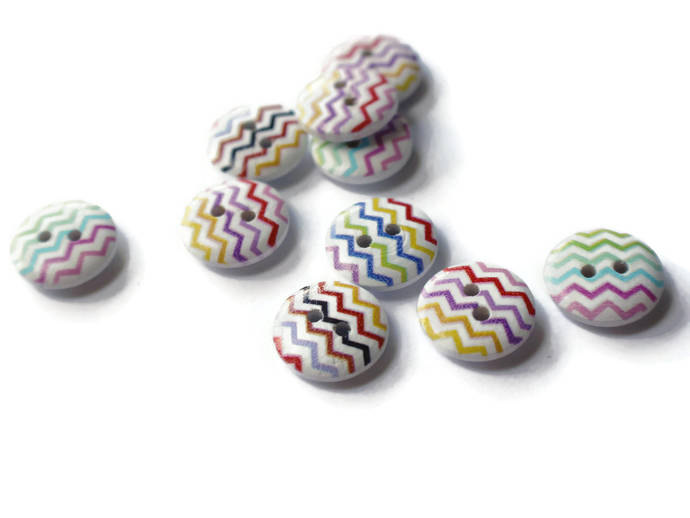 10 15mm ZigZag Buttons Chevron Buttons Wooden Buttons Painted Wood Buttons