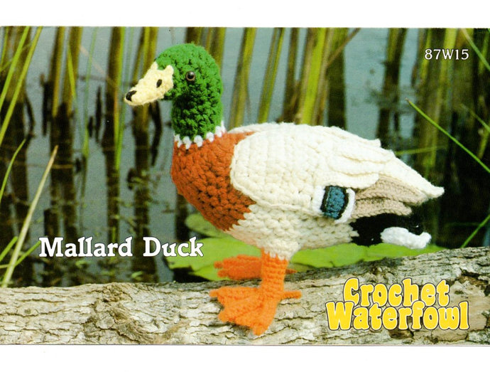 "Mallard Duck Bird Vintage Crochet Pattern Annie's 87W15 Crochet Waterfowl 8 1/2"""