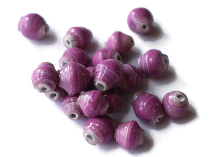 10 or 20 10mm Light Purple Beads Ugandan Paper Beads Fair Trade Beads African