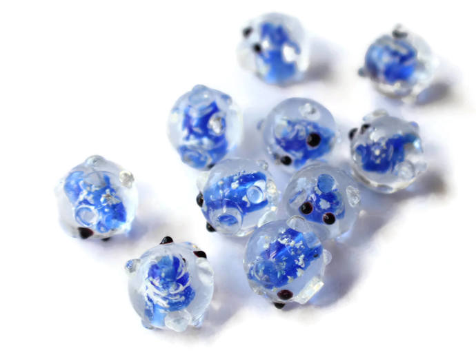 10 Blue Pig Beads Lampwork Glass Beads Glow in the dark Loose Beads Jewelry