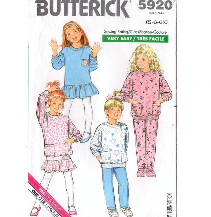 Butterick 5920 Girls Dress, Top, Skirt, Pants 80s Vintage Sewing Pattern Size 5,