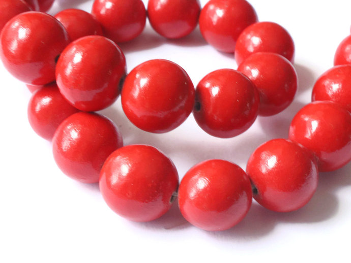 27 15mm Red Wood Beads Round Beads New Old Stock Vintage Beads Wooden Beads Ball
