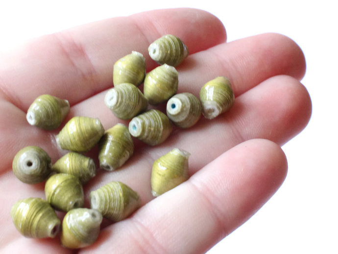 10mm Olive Green Beads Ugandan Paper Beads Fair Trade Beads Small Paper Beads