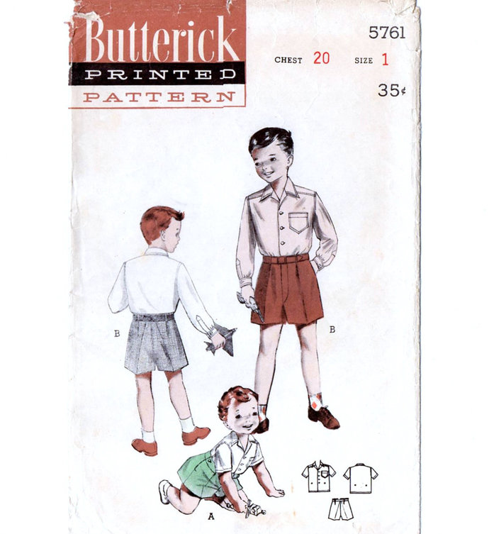 Butterick 5761 Toddler Boy Short Pants, Shirt 50s Vintage Sewing Pattern Size 1