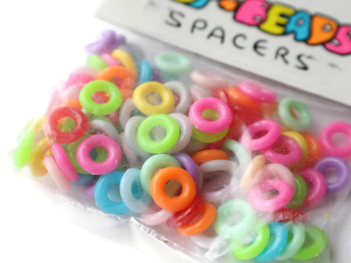 10mm Rings Plastic Ring Beads Multicolor Vintage Beads Pop Beads Spacers Spacer
