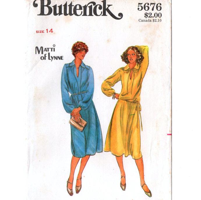 Butterick 5676 Misses Dress, Top, Skirt 70s Vintage Sewing Pattern UNCUT Size 14