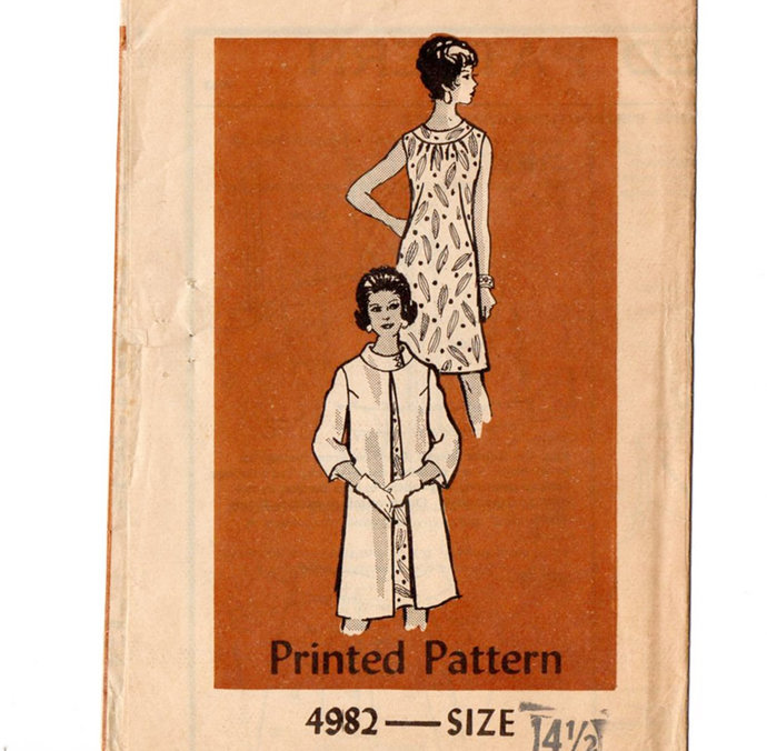 Mail Order 4982 Misses Dress, Coat 60s Vintage Sewing Pattern Half Size 14 1/2