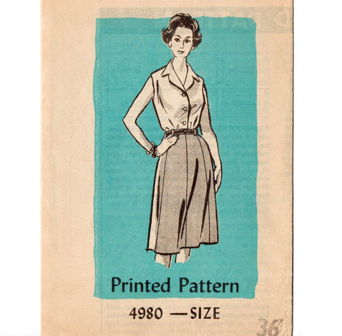 Anne Adams 4980 Misses Skirt, Blouse 70s Vintage Sewing Pattern Size 36 Bust 38