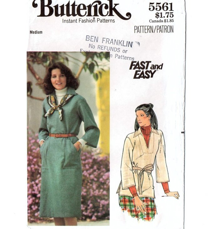 Butterick 5561 Misses Pullover Dress, Top 70s Vintage Sewing Pattern UNCUT Size