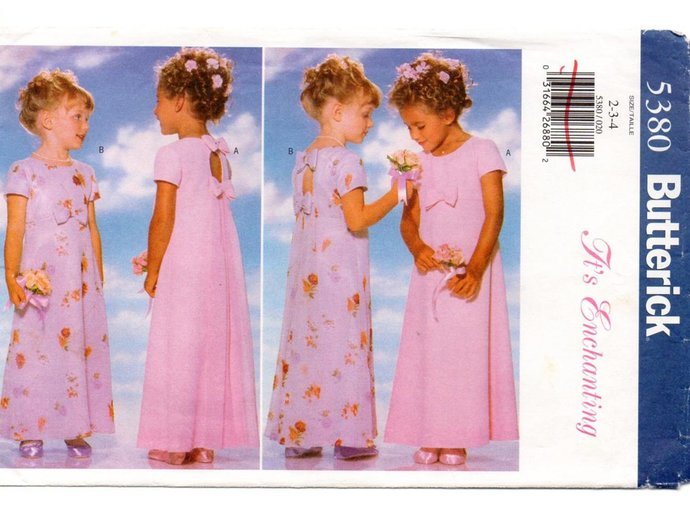 Butterick 5380 Girls Evening Dress 90s Vintage Sewing Pattern Size 2, 3, 4 Chest