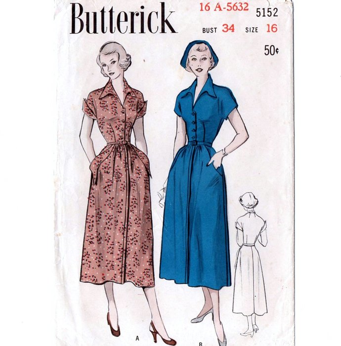 Butterick 5152 Misses Winged Collar Dress 50s Vintage Sewing Pattern Size 16