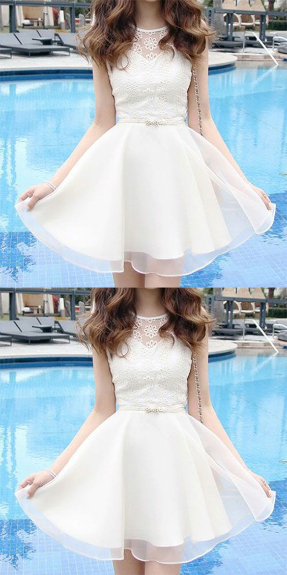 A-Line Bateau Short White Organza Homecoming Dress with Lace