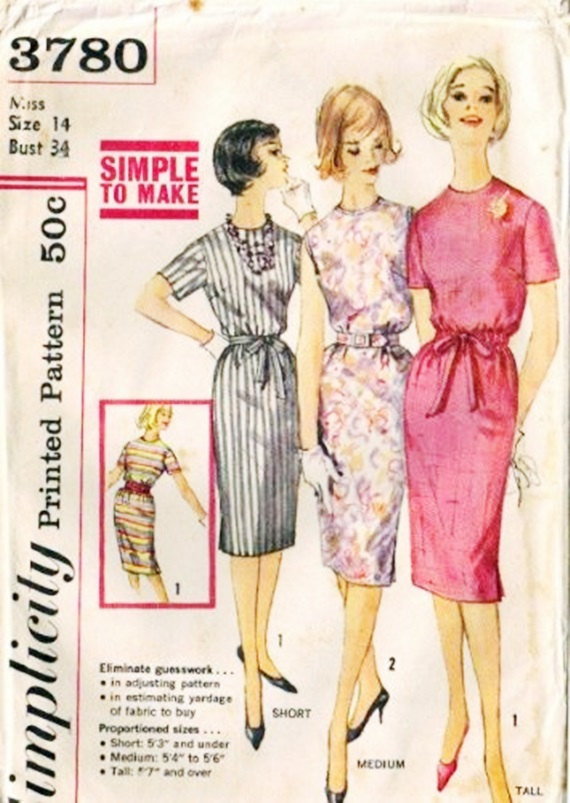 Simplicity 3780 Misses Proportioned Sheath Dress 60s Vintage Sewing Pattern Size