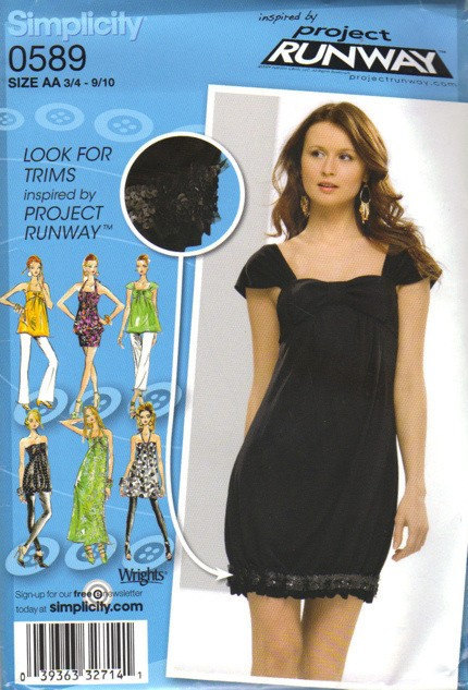 Miss Junior Dress, Tunic Sewing Pattern Simplicity 0589 Project Runway Bubble