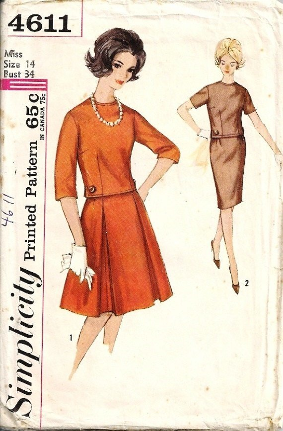 Simplicity 4611 Misses Top, Skirt Two Piece Dress 60s Vintage Sewing Pattern