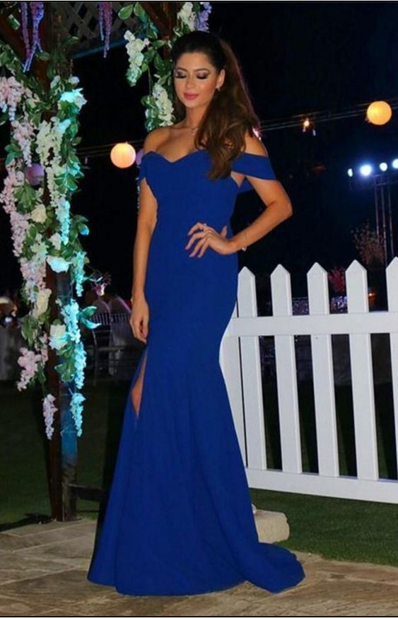 Sexy Off The Shoulder Prom Dresses,Long Royal Blue Prom Dress,Mermaid Evening