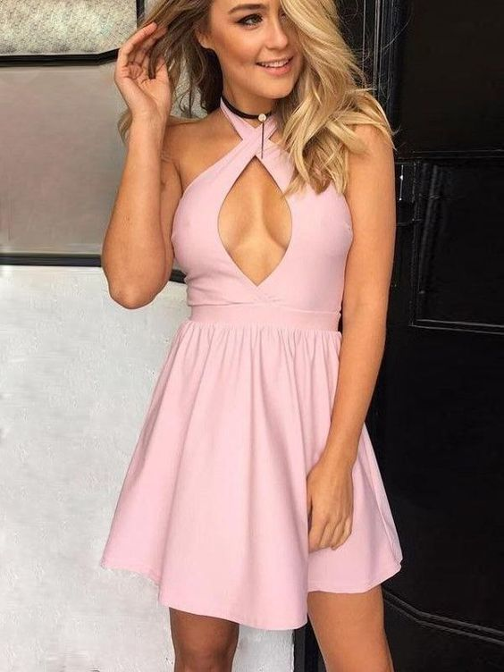Modern Pink Halter Short Homecoming Dresses