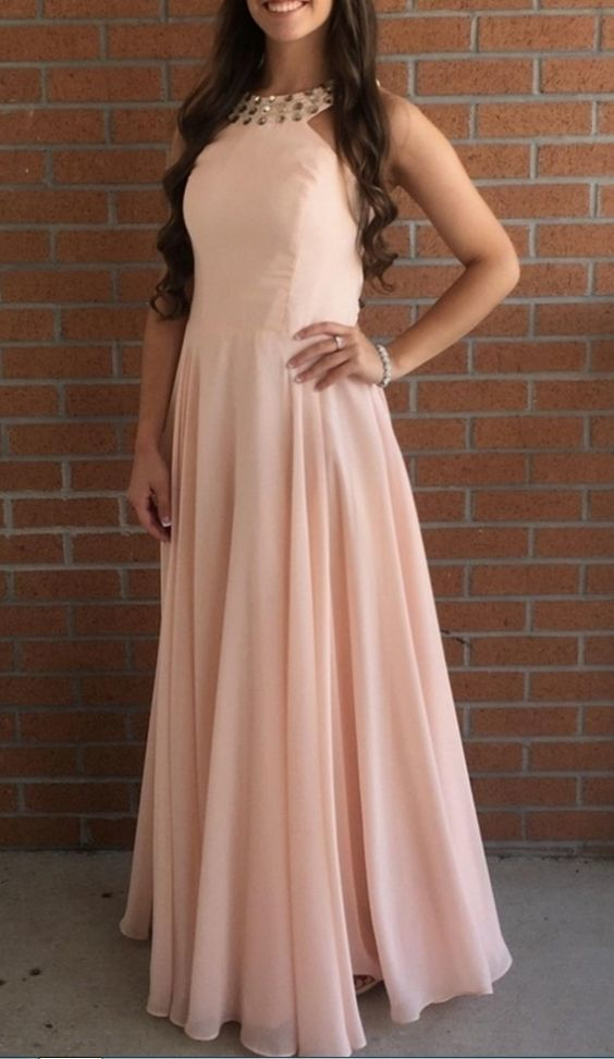 Pink Chiffon Halter Long A-line Party Dresses, Pink Prom Dresses, Prom Dresses