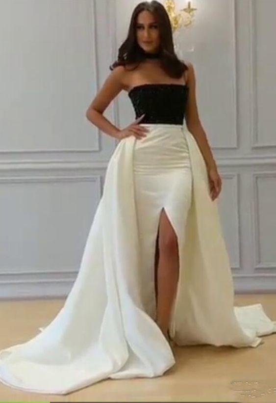 White And Black Modern  Evening Dresses Strapless Front Slit Floor Length Formal