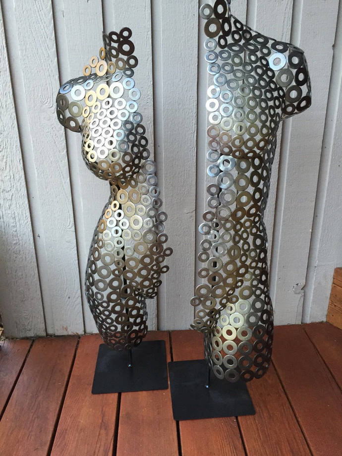 Abstract Metal art sculpture Torso Home Decor Nude by Holly Lentz