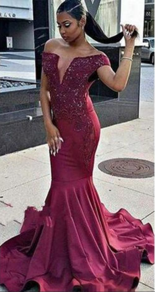 Burgundy Off The Shoulder Mermaid Prom Dresses  Ruffles V-neck Beads Appliques
