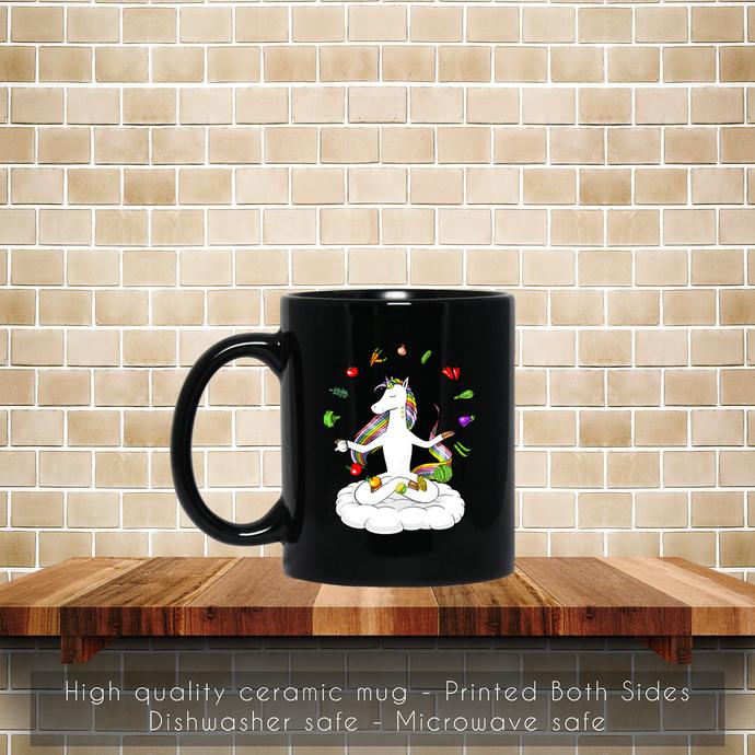 Unicorn Vegan, Vegetarian Yoga, Vegetable Meditation Coffee Mug, Tea Mug, Coffee