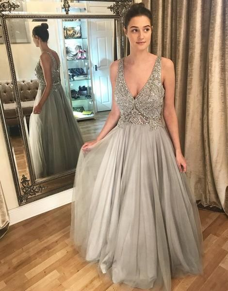 Popular Sexy Long Prom Dress With Beading Semi Formal Dresses Wedding Party