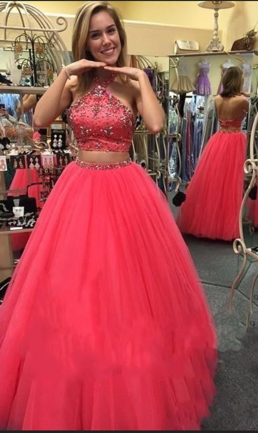 A-line Halter Prom Dresses Two Pieces Sequin Crystal Beads Open Back Tulle Skirt