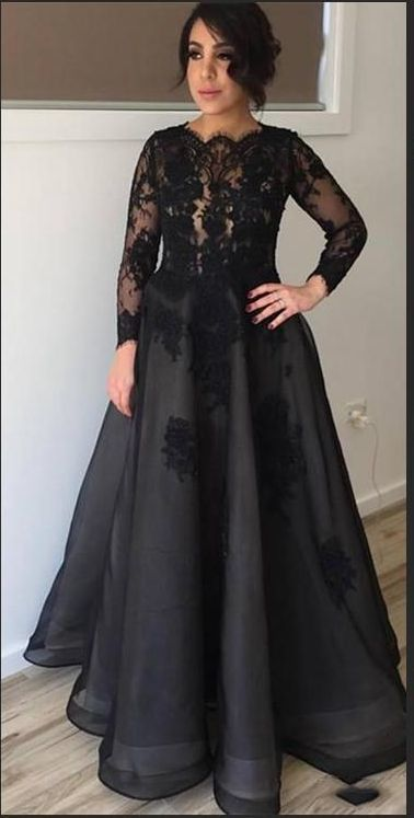 Cheap Vintage Black Long Sleeve Evening Dresses Sheer  A Line Prom Dress Party