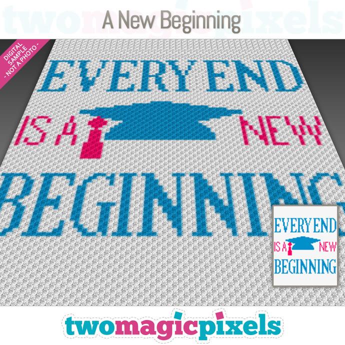 A New Beginning Logo crochet graph (C2C, Mini C2C, SC, HDC, DC, TSS), cross